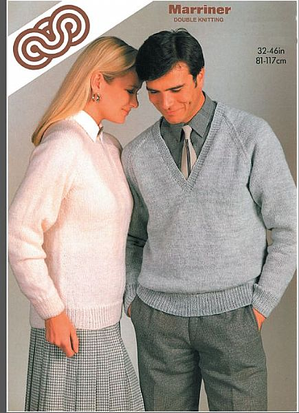 M5108 His 'N' Her 'V' or Round Neck Sweater in DK