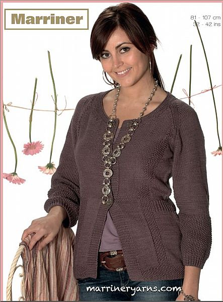 35533 Fitted cardigan with long or 3/4 length sleeves in DK