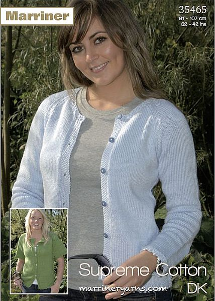 35465 Raglan Cardigan with Picot Edging in Marriner DK