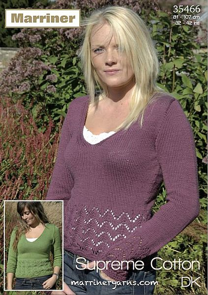 35466 Lace Border Top in Marriner DK