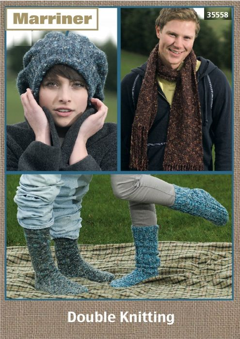 35558 Hat Scarf And Socks On Two Needles In Dk Marriner Yarns