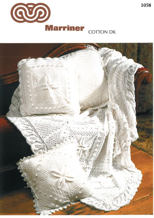 M1058 Knitted Throw And Cushion Covers In Dk Marriner Yarns