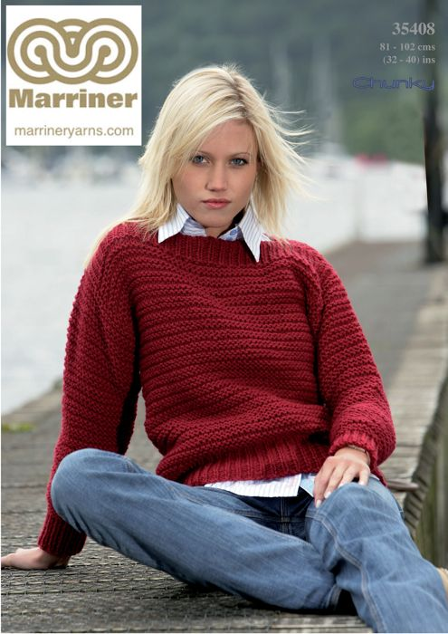 35408 Easy Knit Sweater In Chunky Marriner Yarns