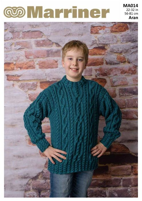 5afbf3288 A classic cable knit jumper for children and teens in Aran weight.  Traditional cable will never go out of style and this can be updated and  adapted to many ...