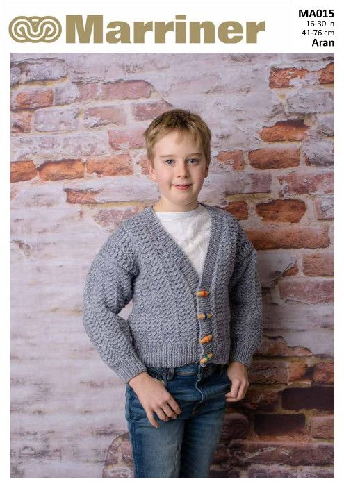 1d091ce20 A classic cable cardigan in Aran with a v-neck. A versatile cardigan great  for any little boy or girl.