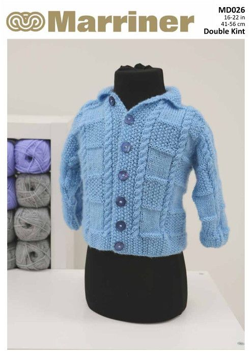 Md026 Baby Cardigan Knitting Pattern In Double Knit Marriner Yarns