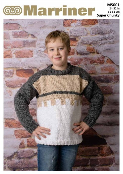 Ms001 Contrast Kids Jumper Knitting Pattern In Super Chunky