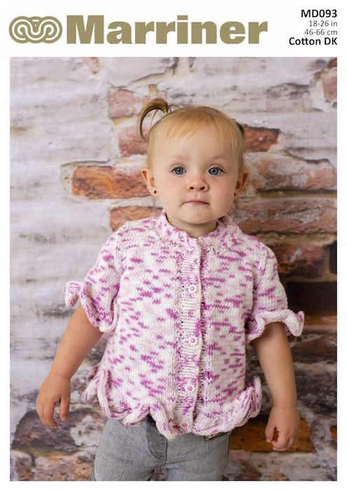 eb072f8e9 MD093 Children s Frilled Edge Cardigan in Double Knit - Marriner Yarns