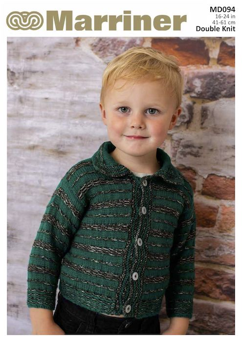 Md094 Boys Striped Cardigan In Double Knit Marriner Yarns