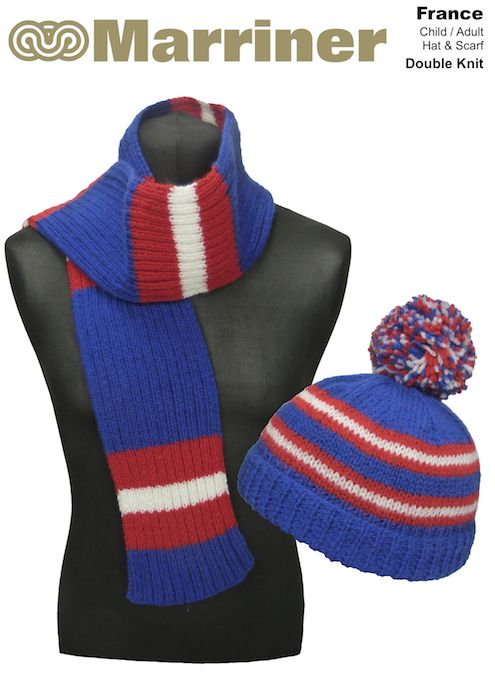 France Hat Scarf Pattern In Double Knit Marriner Yarns
