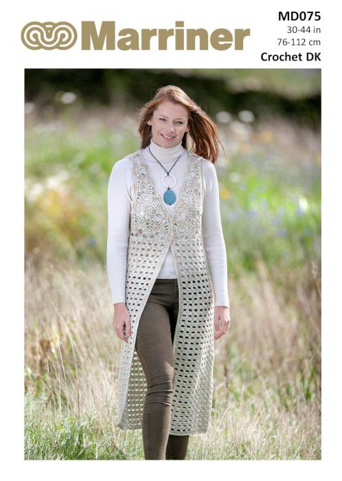 Md075 Long Crochet Waistcoat In Dk Marriner Yarns