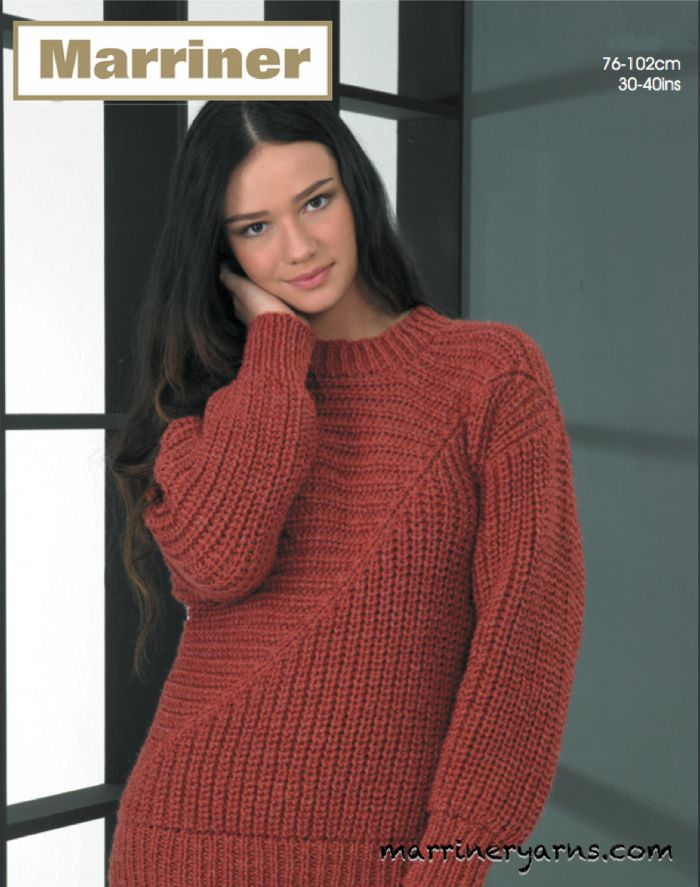 35731 Directional Sweater In Marriner Chunky Marriner Yarns