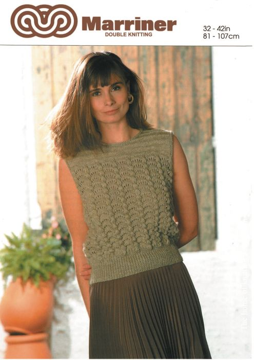 M0578 Sleeveless Sweater in Fan Shell - Marriner Yarns