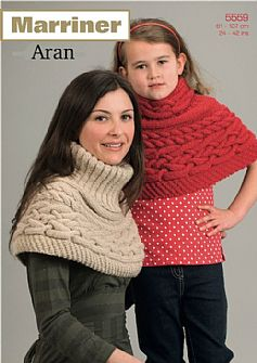 35559 Cabled Shoulder Cape in Aran