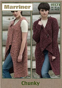 35573 Wrap and Gilet in Marriner Chunky