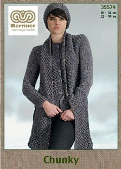 35574 Jacket Hat and Scarf in Marriner Chunky