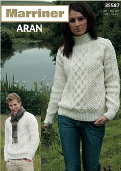 35587 His and Hers Double Cable Sweater in Aran