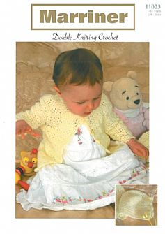 11023 Crochet Matinee Coat & Bonnet Pattern in DK