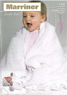 11046 Matinee Coat Angel Top Bonnet Mitts Bootees and Shawl in DK