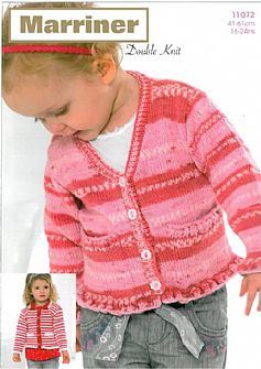 11072 V Neck & Collared Ruffle Edged Cardigans in DK