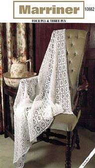 10882 Crochet Square Shawl Pattern in 3ply or 4ply
