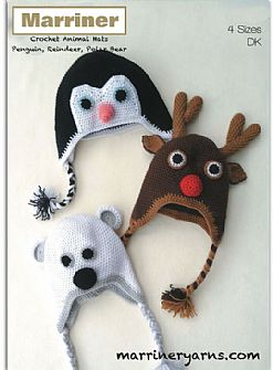 35709 Christmas Animal Hats Crochet Pattern in DK