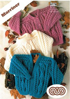 M0778 Childs Cardigans and Sweater in Aran