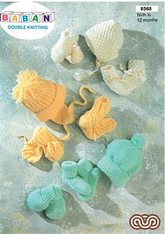 M0568 Babys Caps Bonnet Mittens and Bootees in DK