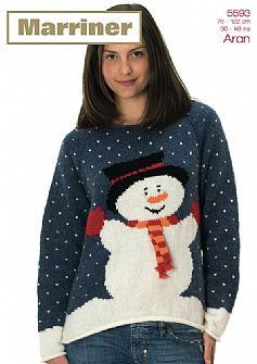 35593 Snowman Sweater in Marriner Aran