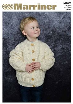 MA003 Round Neck Cardigan in Aran