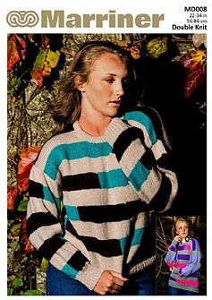 MD008 Stripe Sweater in DK for Adult/Teen