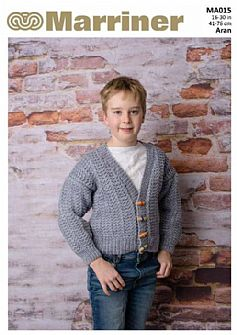NEW - MA015 Kids' Cable Cardigan in Aran