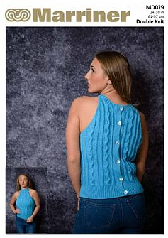 MD029 Button front or Back Cable Vest Top in DK