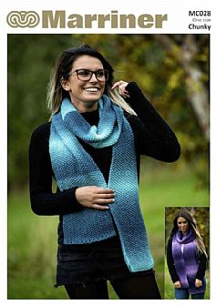 MC028 Scarf Wrist warmers Neck warmer Hooded cowl in Chunky