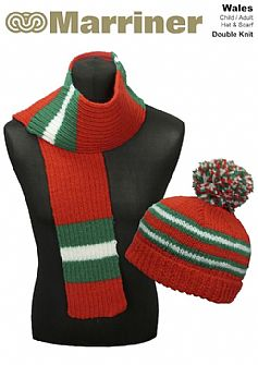 Wales Hat & Scarf pattern in Double Knit