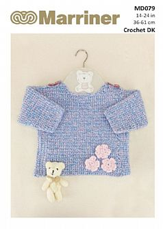 MD079 Crochet Jumper with Flower Details in DK