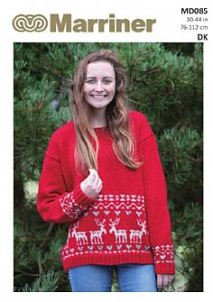 MD085 Reindeer Christmas Knit Jumper in DK