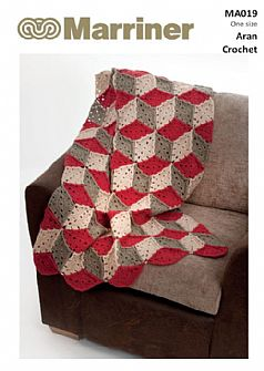 MA019 Cube Crochet Throw in Aran