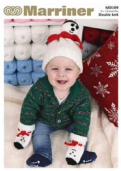 MD109 Snowman Hat & Mitts set knitting pattern in DK