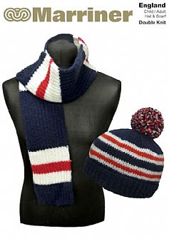 England Hat & Scarf pattern in Double Knit