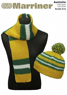 Australia Hat & Scarf pattern in Double Knit