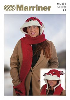 MD106 Hooded Fox Scarf in Double Knit