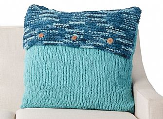Bernat Button-Up Knit Cushion pattern