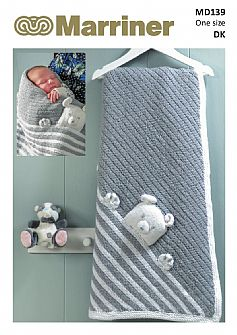 PDF download MD139 Peek-a-boo teddy DK baby blanket knitting pattern