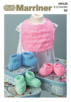 MD120 Bibs and Bootee sets in DK
