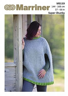 MS119 Traditional Poncho with contrast hem in Super Chunky