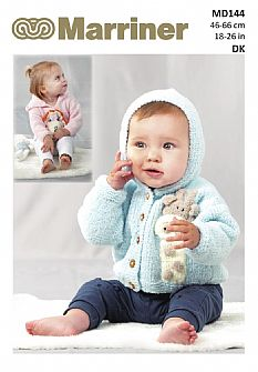MD144 Lion & Giraffe baby hooded cardigan/sweater pdf knitting pattern