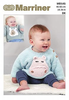 MD145 Hippo & Polar Bear motif baby jumper pdf knitting pattern