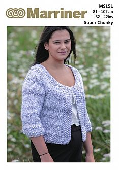 MS151 Crop Jacket Super Chunky pdf knitting pattern
