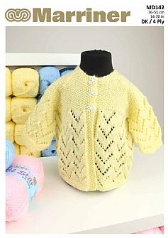MD142 Matinee Baby coat in DK and 4 ply